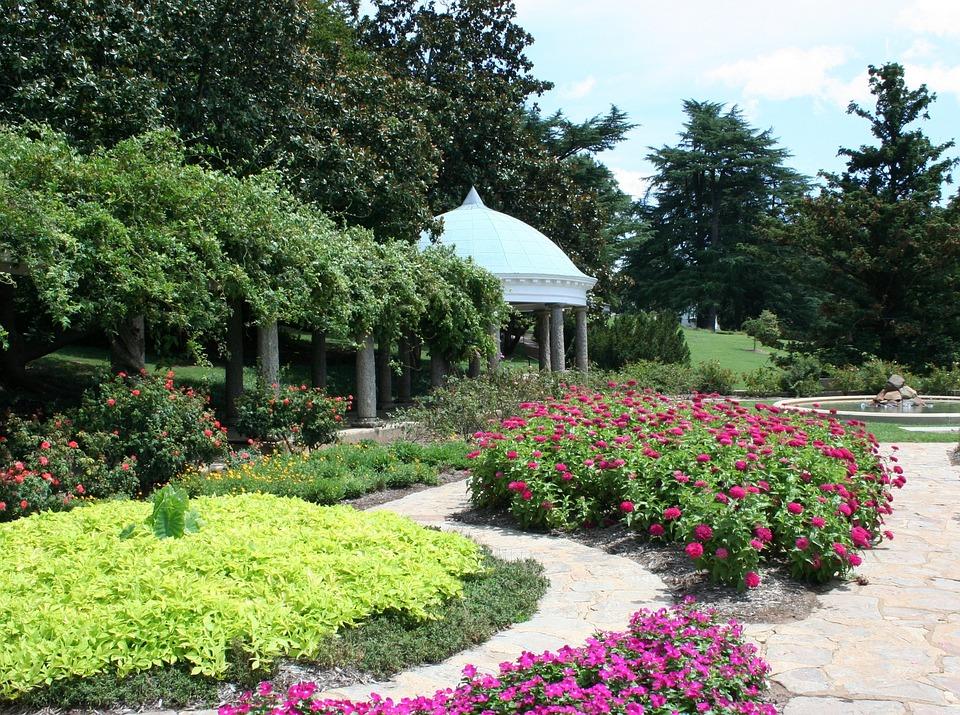 Garden, Flowers, Paths, Green, Spring, Grass, Floral