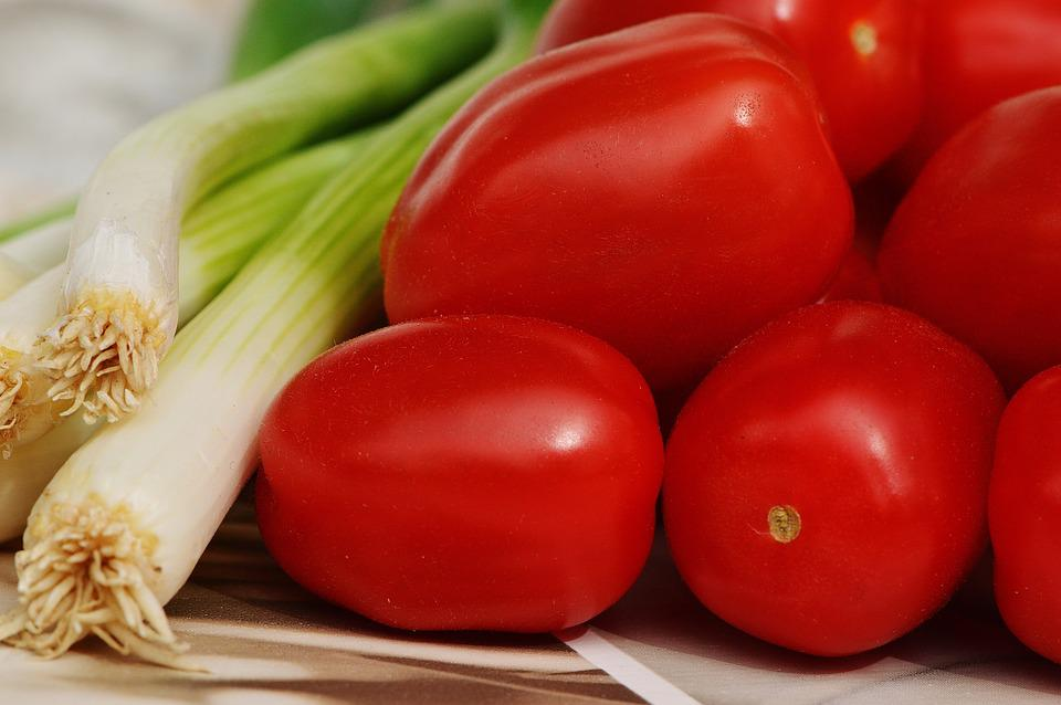 Tomatoes, Spring Onions, Vegetables, Healthy, Vitamins