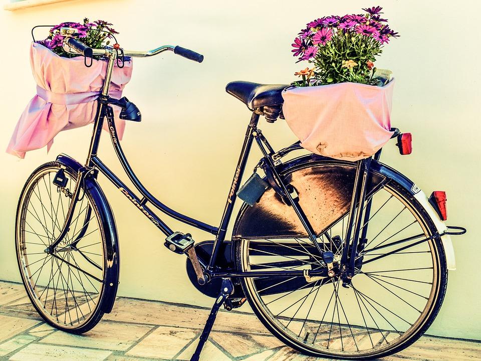 Bicycle, Flowers, Basket, Bike, Vintage, Retro, Spring