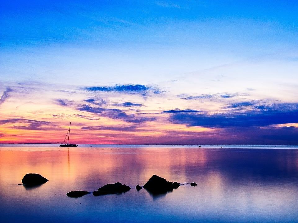 April, Spring, Evening, Abendstimmung, Sunset, Sea