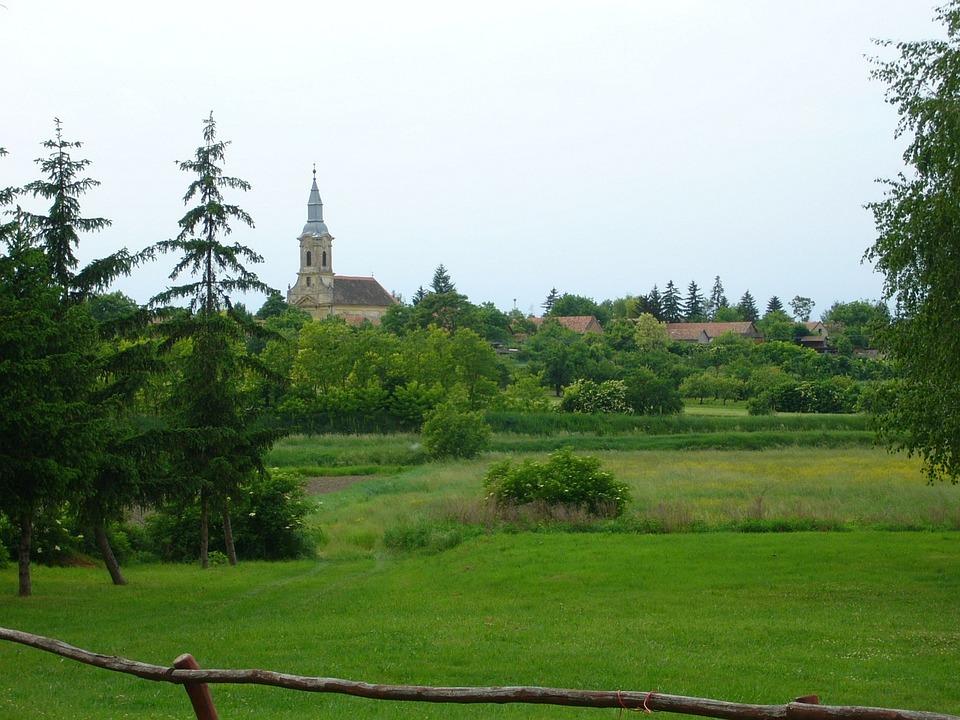 Village, Green, Church, Spring