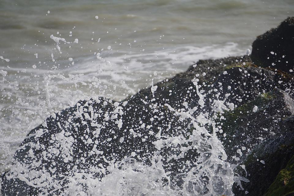 Spray, Water, Rock, Coast, Nature, Sea, Surf, Spritzer