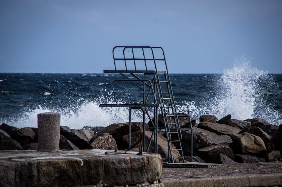 Swell, Sprungturm, Sea, Baltic Sea, Water, Surf, Blue