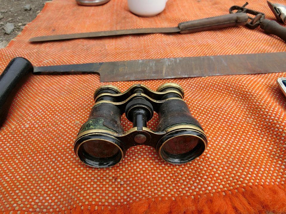 Binoculars, Junk, Antique, Flea Market, Were Used, Spy