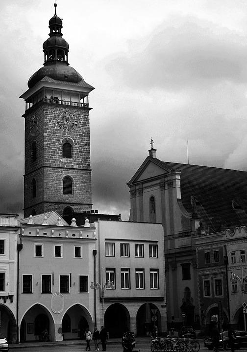 Black Tower, Road, Black And White, Bohemia, Square