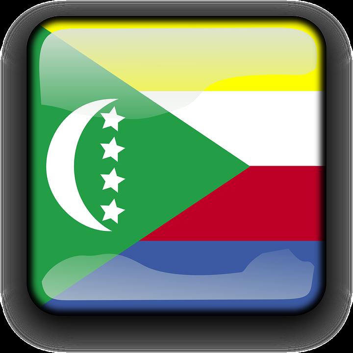 Comoros, Flag, Country, Nationality, Square, Button