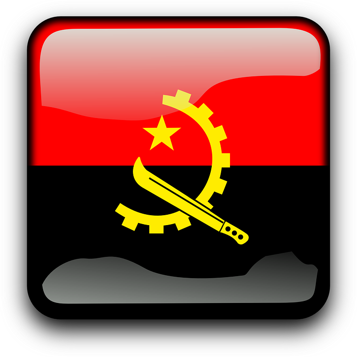 Angola, Flag, Country, Nationality, Square, Button