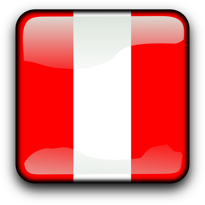 Peru, Flag, Country, Nationality, Square, Button
