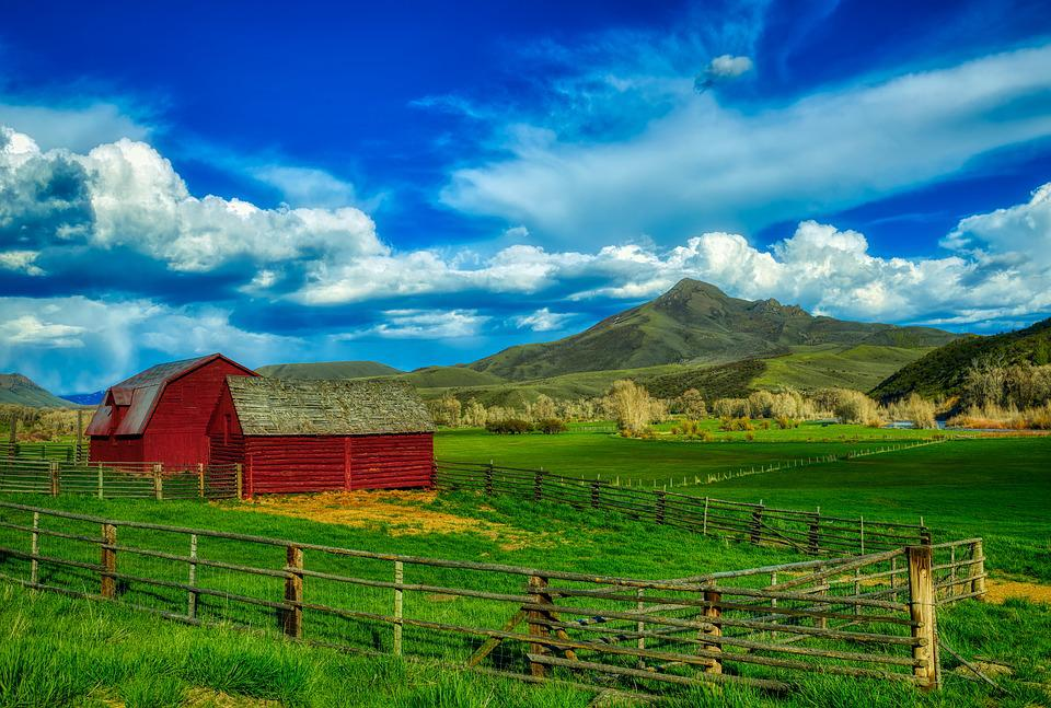 Squaw Mountain, Sky, Clouds, Ranch, Farm, Mood, Hdr