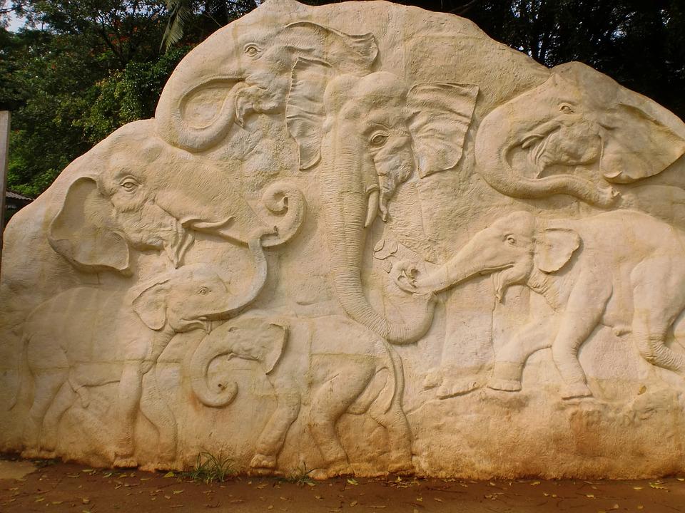 Elephant, Carvings, Rock, Sculpture, Sri Lanka