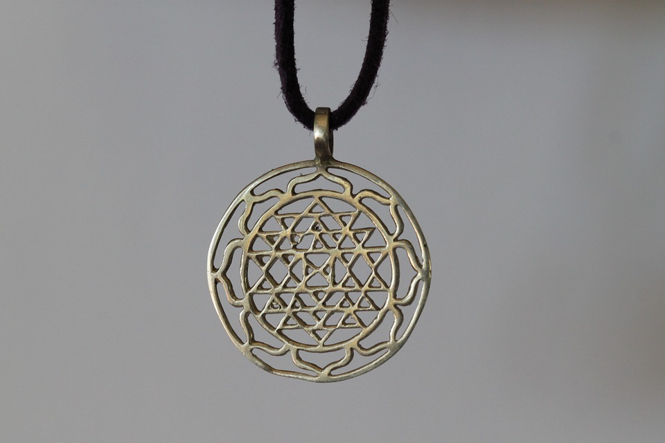 Sri Yantra, Lucky Charm, Necklace