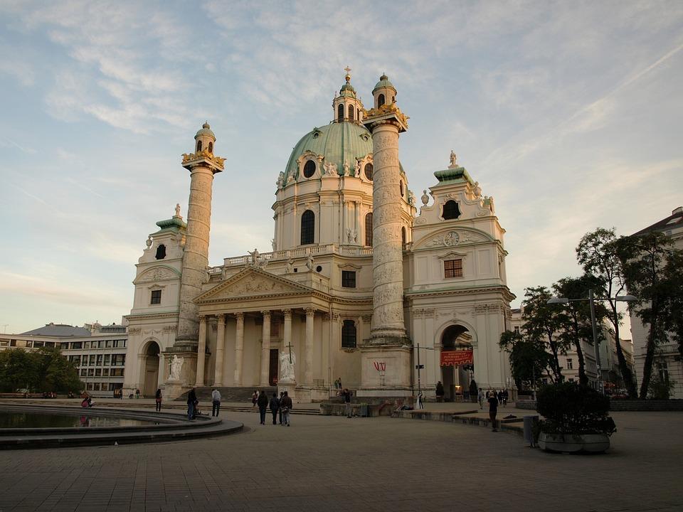 Vienna, St Charles's Church, Baroque, Evening