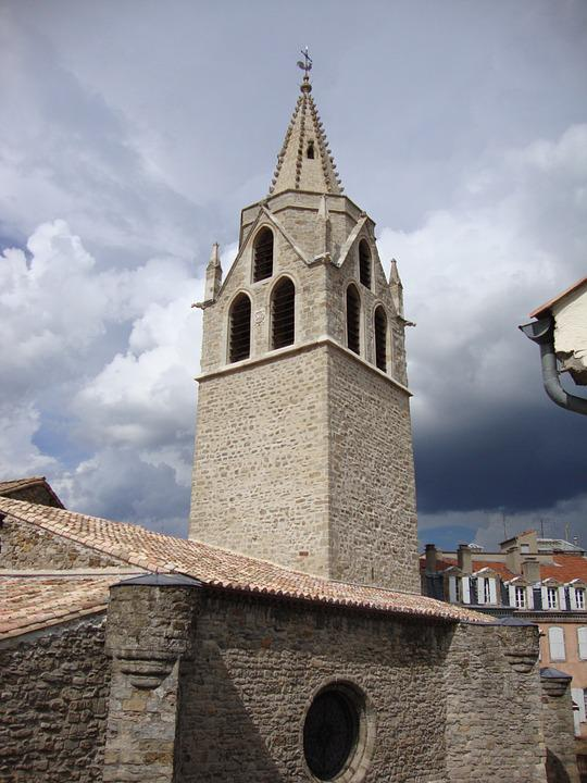 St Laurent, Aubenas, Ardèche, France, Church, Tower