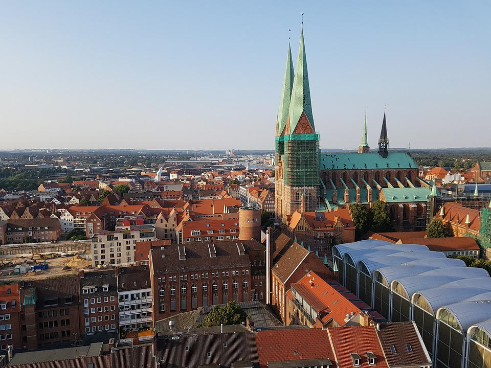 Lübeck, City View, Steeple, St Mary's Church, View