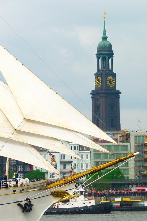 Hamburg, Sailing Vessel, Sail, Port, St Michaeliskirche