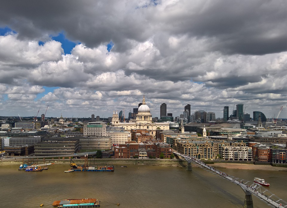 St Paul's Cathedral, London, River Thames, England