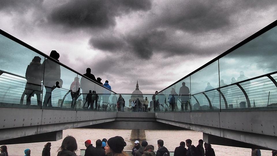 London, England, St Paul's, Millenium Bridge, April