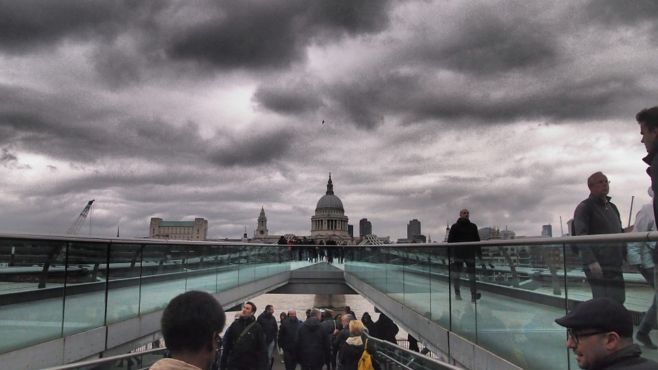 London, England, St Paul's, Millenium Bridge, April
