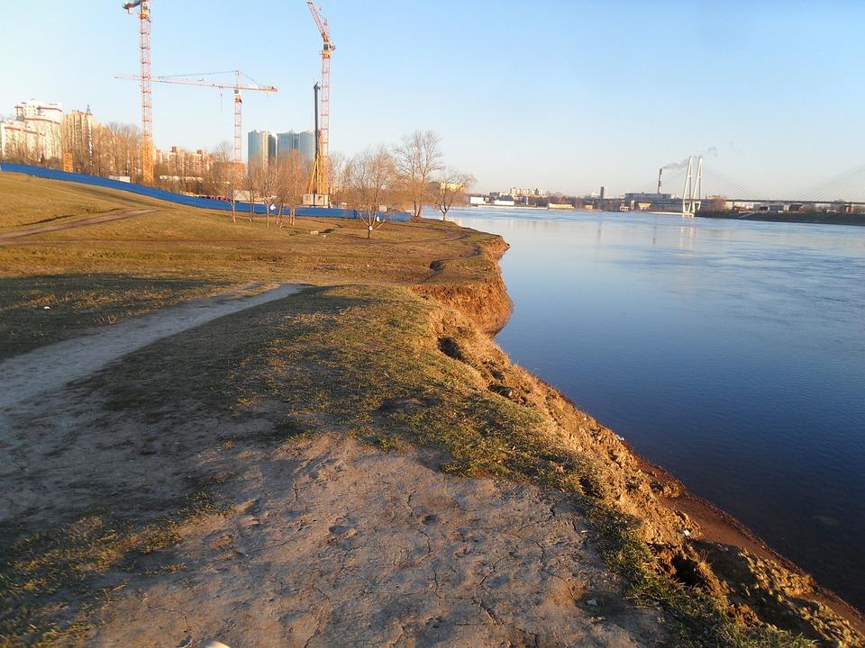 Russia, St Petersburg Russia, River, Beach, Neva