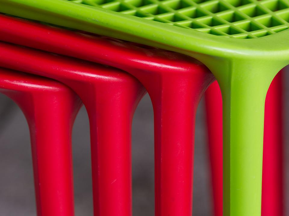Chair, Stack, Red, Green, Plastic, Pile, Design