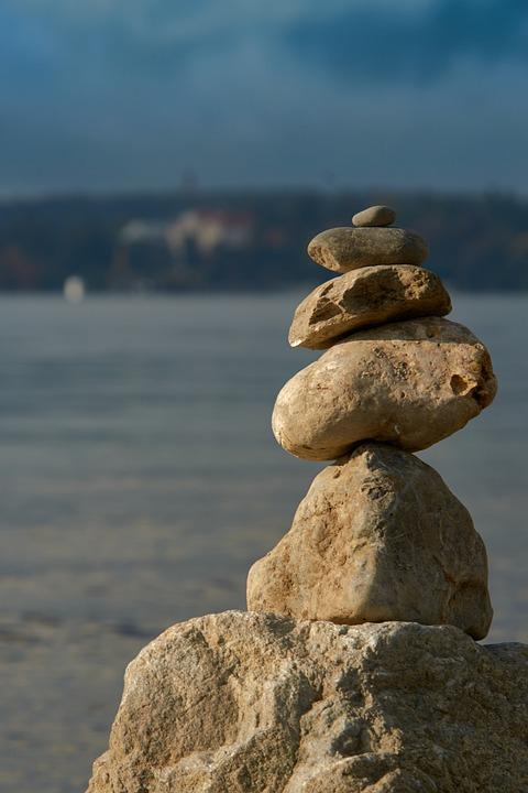 Stones, Balance, Lake, Stack, Stack Of Stones