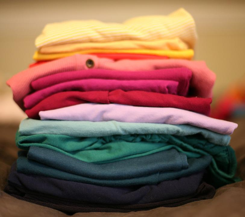 Folded, Laundry, Stack, T-shirt, Red, Clothes, Clothing