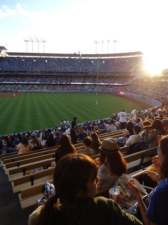 Baseball, Dodgers, Stadium, Day, Sun, Bleachers