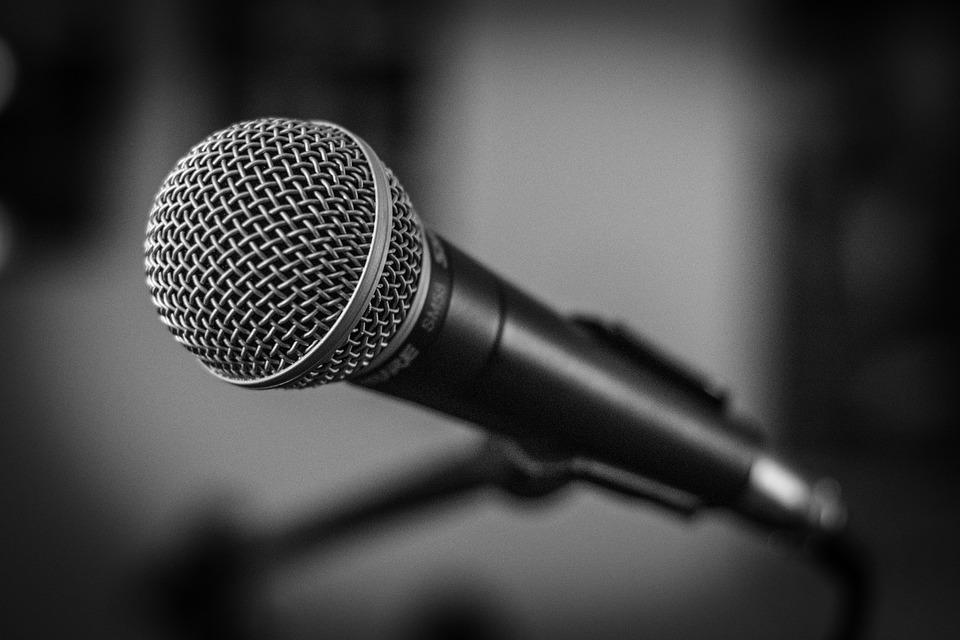 Microphone, Stage, Black And White, Music