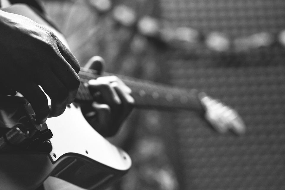 Guitarist, Stage, Show, Musicians, Black And White