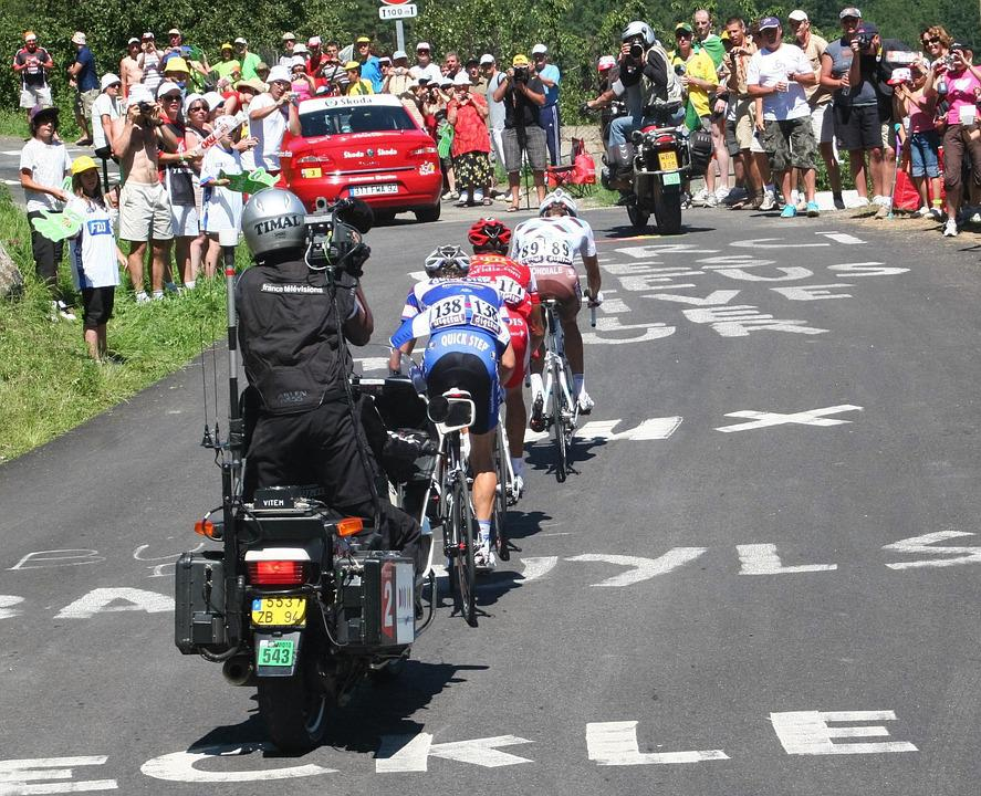Tour De France, Tv Crew, Stage Winner, Tv Crew On Bike