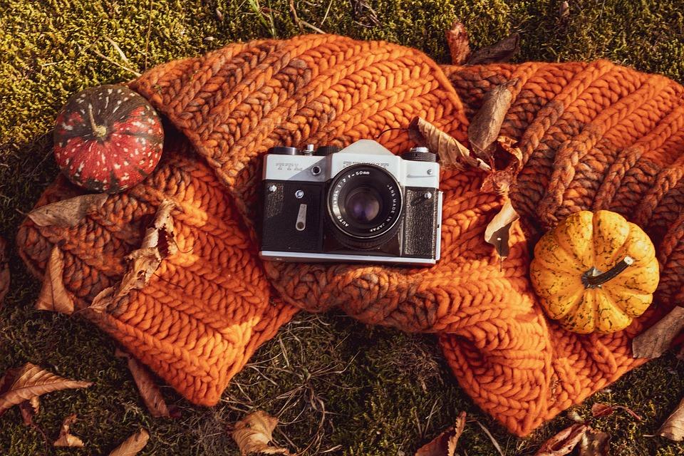 Composition, Pumpkins, Staged, Old, Zenit, Photo Camera