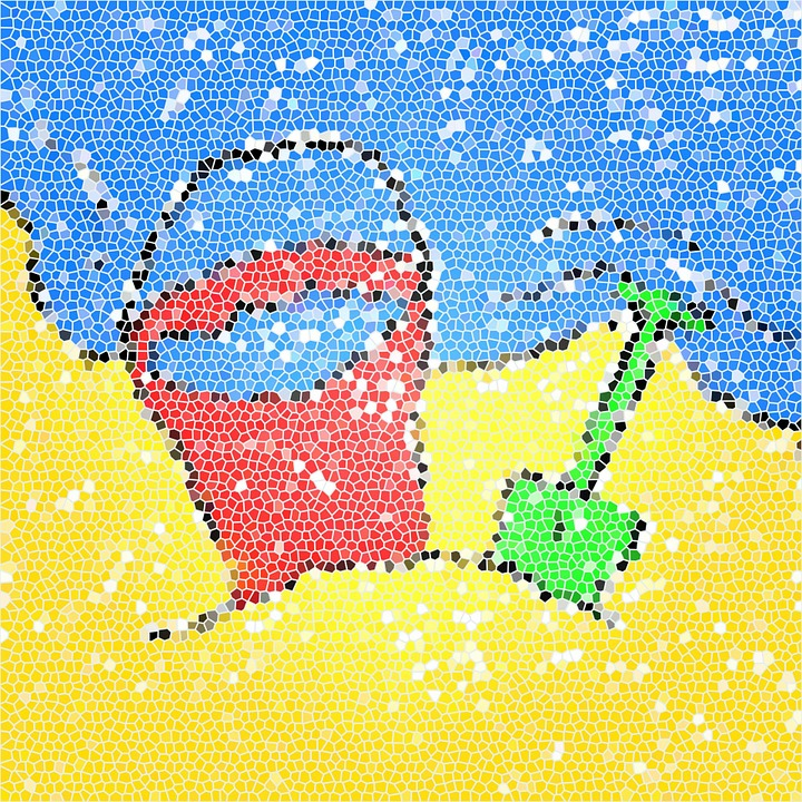 Abstract, Pattern, Stained Glass, Mosaic, Beach, Bucket