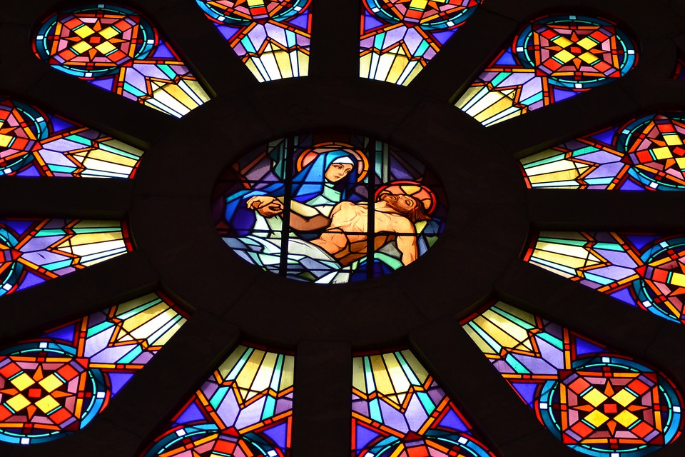 Stained Glass, Colorful, Window, Chapel, Mother, Son