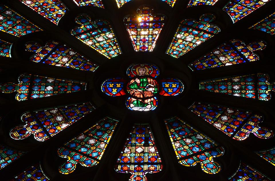 Stained Glass Windows, Cathedral, Carcasonne, Catholic