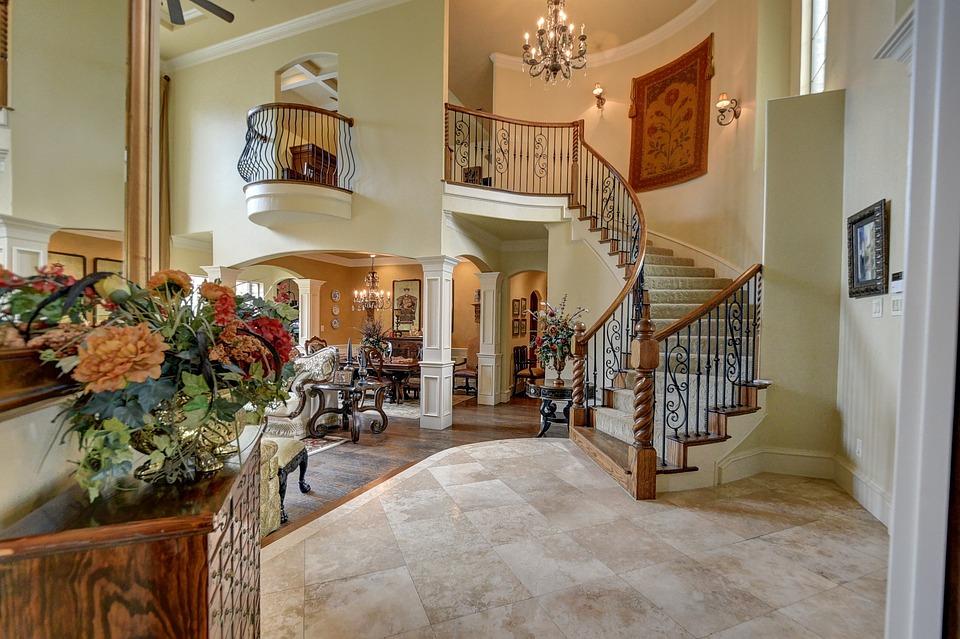 Staircase, Chandelier, Interior, Home, Elegant