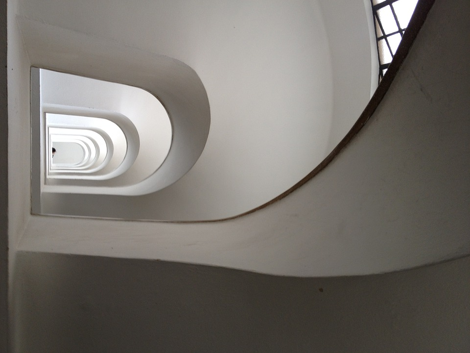 Stairwell, Stairs, White, Staircase, Stairway, Stair