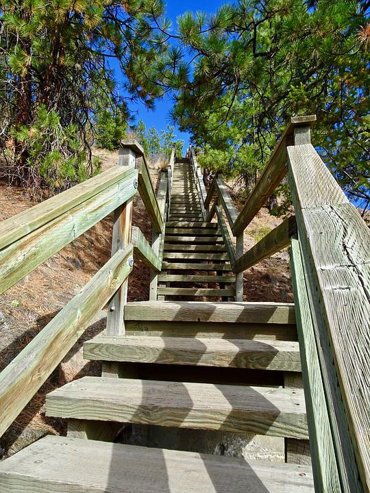 Stairway, Stairs, Wooden, Staircase, Construction