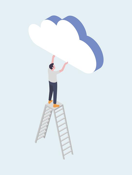 Cloud, Men, Sky, People, Stairs, Belief, Blue, Outside