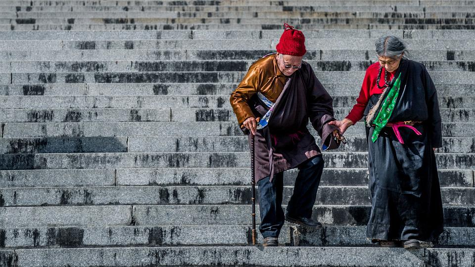 The Old Man, Stairs, Tibet, Hand, Love