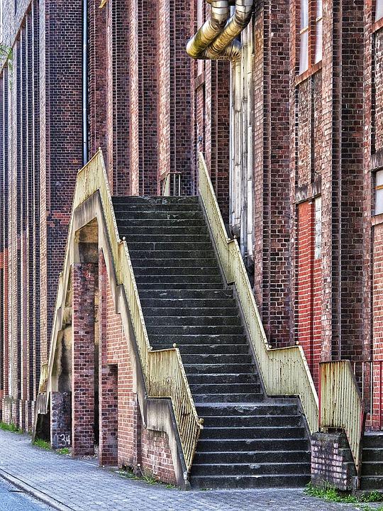 Stairs, Facade, Clinker, Historically, Zeche Westfalen