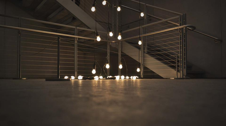 Illuminated, Light Bulbs, Lights, Stairs, String Lights