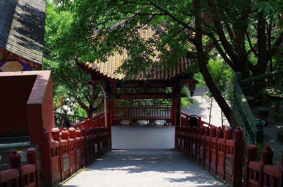 Temple, Railing, Kadoba, Stairs, Asia