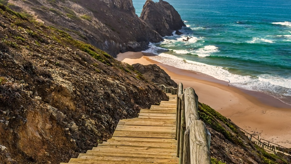 Stairs, Wood, Sea, Nature, Seashore, Water, Travel
