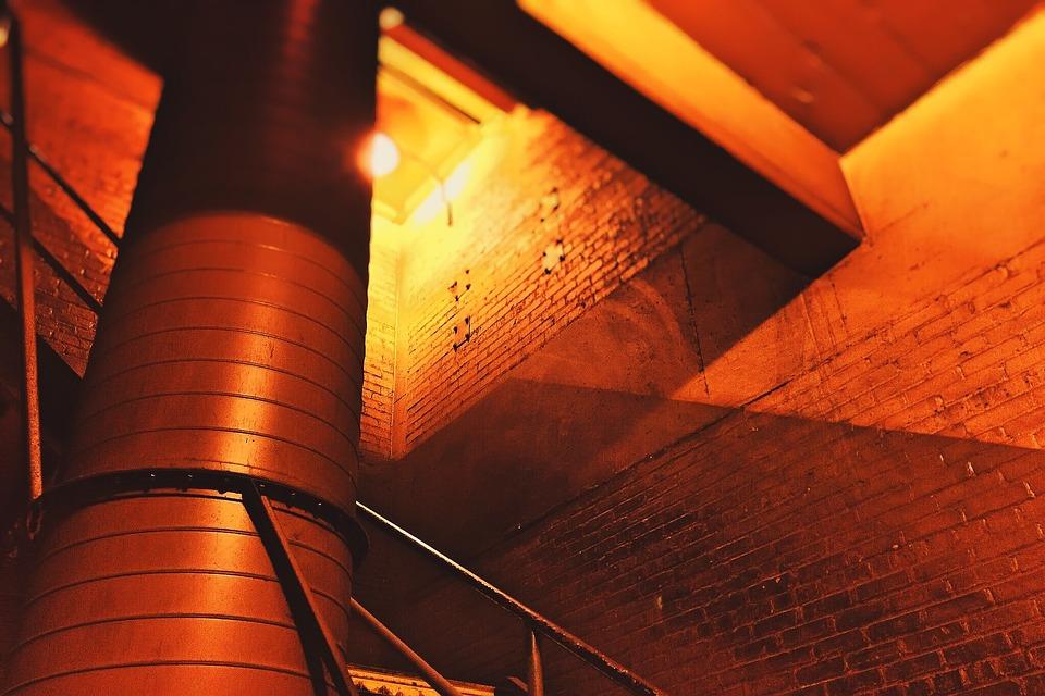 Factory, Stairwell, Brick, Industrial, Building