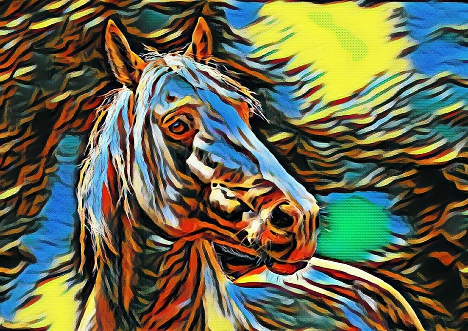 Horse, Colorful, Animal, Stallion, Drawing