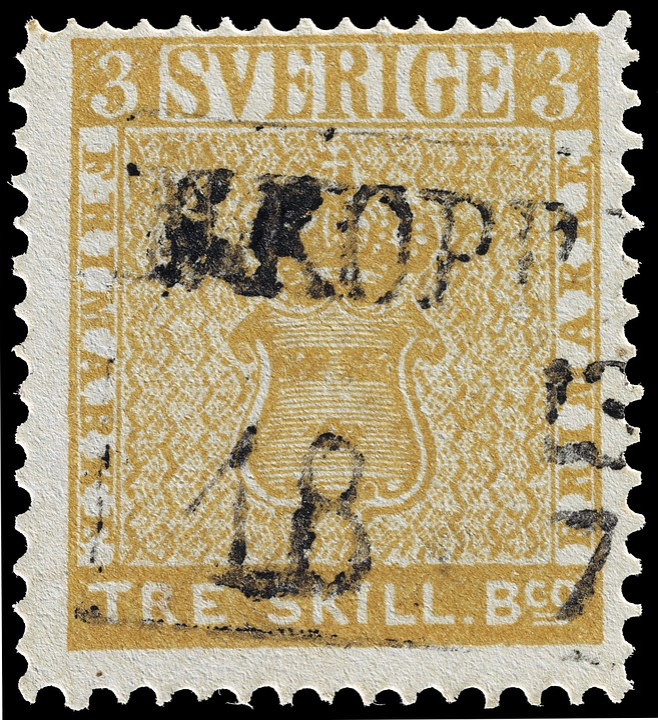 Stamp, Tre Skilling Banco Error, Swedish, Three, 3