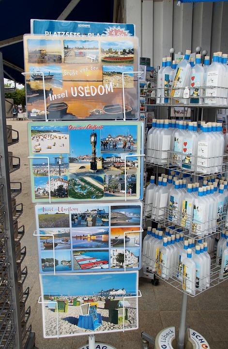 Postcard, Usedom, Tourists, Souvenir, Stand