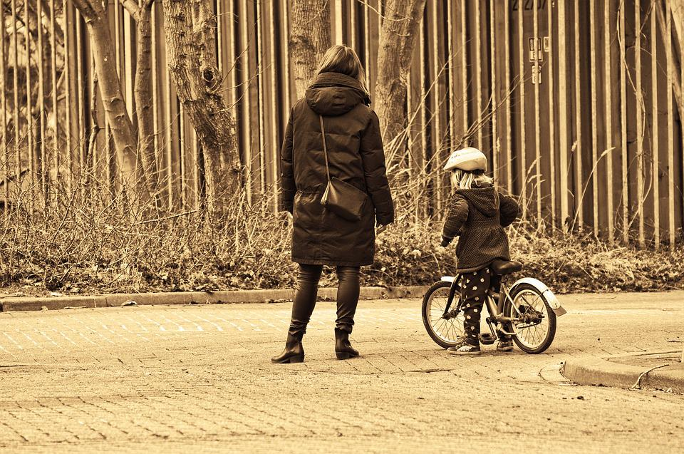 Woman, Mother, Child, Person, People, Standing, Bicycle
