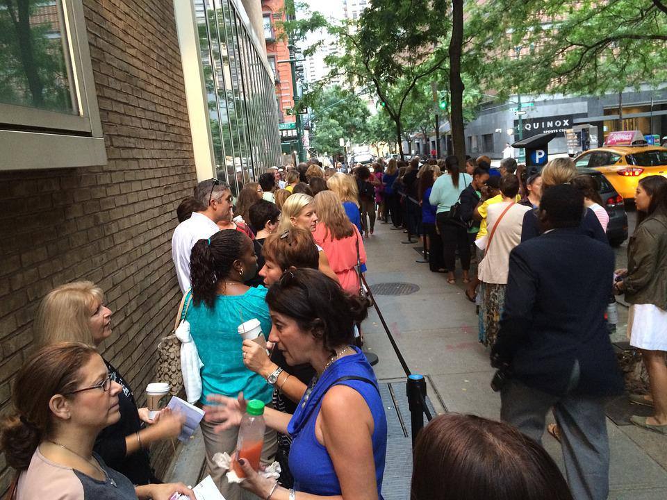 Standing In Line, Women, Morning, People, Together