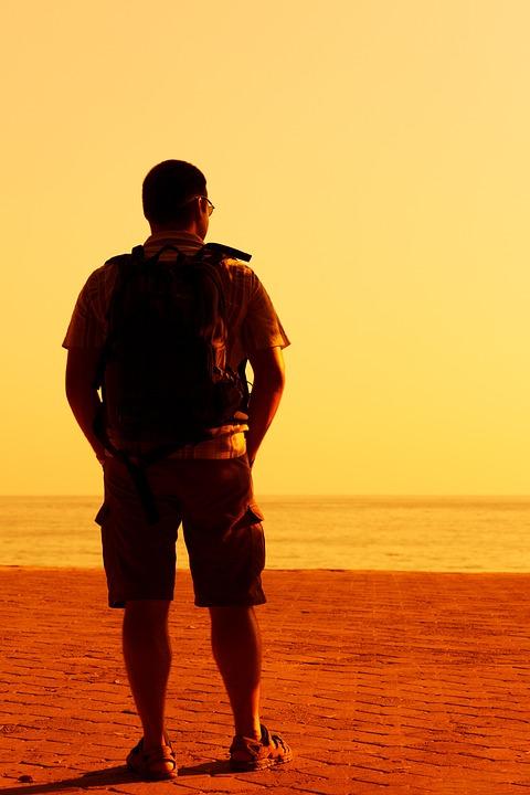 Alone, Hiker, Standing, Evening, Male, Man, Orange